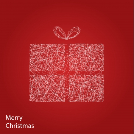christmas motive: Vector outline Christmas gift. Modern Christmas background with place for your content. Christmas decoration. Minimalistic Christmas motive. Illustration