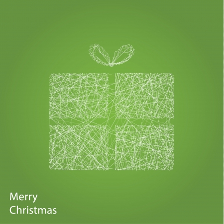 Vector outline Christmas gift. Modern Christmas background with place for your content. Christmas decoration. Minimalistic Christmas motive. Vector