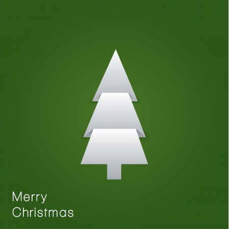 Vector minimalistic Christmas card. Folded paper - Christmas tree. Clean design.  Vector