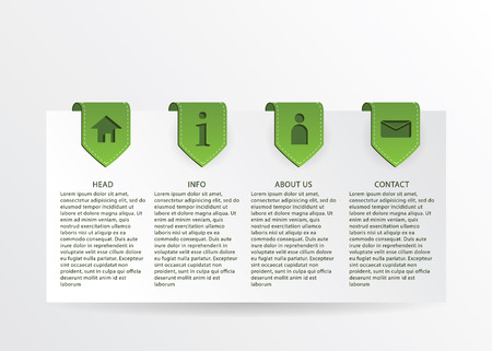 Vector green progress card with gold ribbon marks and simple web icons. Stock Vector - 24018060