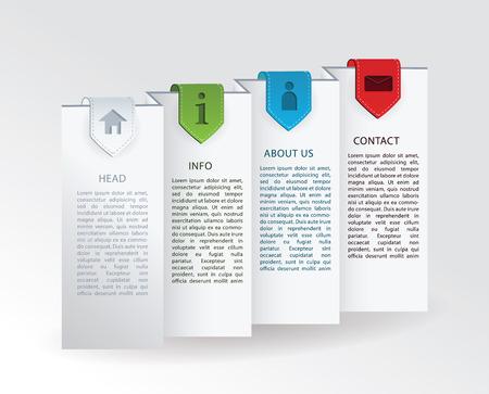 papier pli�: Vector label - papier pli� avec quatre marques de ruban color� et simples ic�nes pour votre site web. Illustration