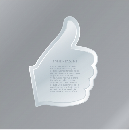 costumer: Vector hand gesture label with space for your content  Effective communication with costumer   May be interested gesture