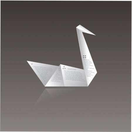 Vector paper origami swan  Paper swan with space for text about your company  Nice origami animal with reflection  Four points - four spots for your content