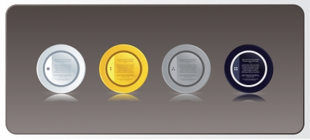 Vector - Four luxury circle labels with reflection for your website. Modern design. Gold, silver, blakc velvet and white version. Stock Vector - 24261361