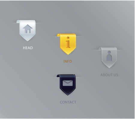 Vector luxury ribbon pointers with simple basic icons. White paper, gold, silver and black velvet. - simple vector signs with numbers. Illusztráció