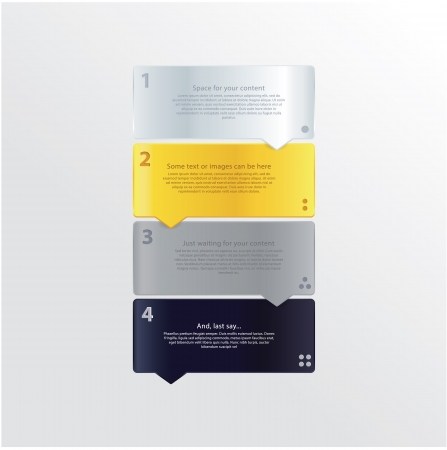 Minimalistic vector template. Modern design vector labels. Four steps with space for your content. Trendy colors.