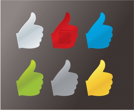 costumer: Vector hand gesture label with space for your content. Effective communication with costumer. Six simple hands in different colors.