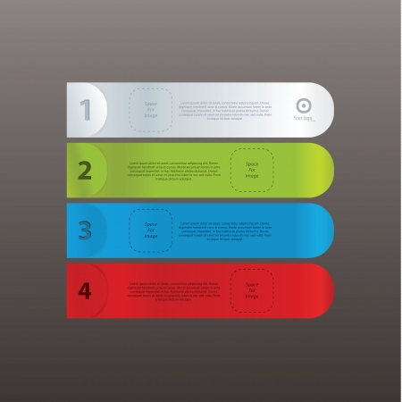 Vector labels with space for your content. Modern design, vector format. Easy to edit. Minimalistic website elements. Four different colors - four steps, choices or levels. Fresh colors.