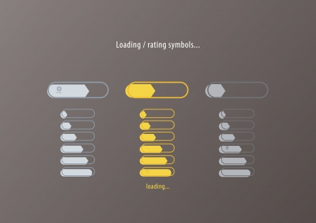 rating meter: Modern vector colorfully rating, loading. With space for your text . Meter in three different colors. Modern minimalistic design. Stylized arrow. luxury colors, silver and gold.