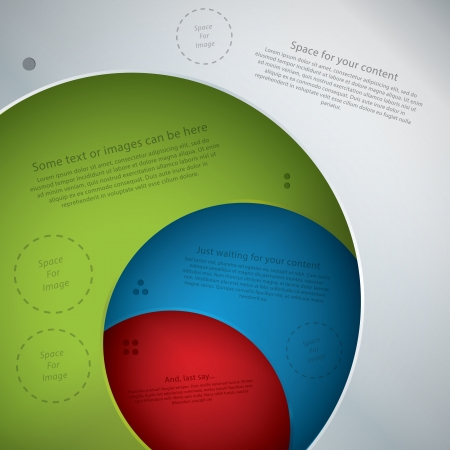space for images: Vector template in modern design. Four plates in different colors with space for your text. Can be use as info graphic for your presentation or poster. Place for your text and images.