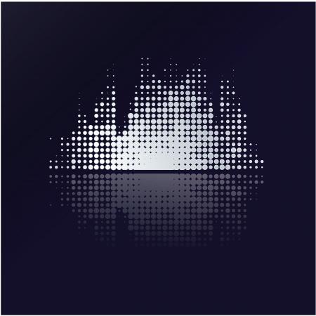 inteligible: Volumen de la m�sica colorfuly con la reflexi�n. Peque�os puntos. Resumen m�sica de fondo - dise�o moderno.
