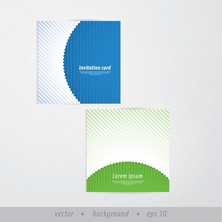 Vector paper presentation  invitation cards in retro style. Soft stripped cards with space for your text. Modern design presentation for your company or website. Illustration
