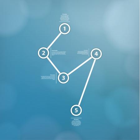 discreto: Vector plantilla minimalista con fondo borroso discreto. Cinco puntos unidos, mucho espacio para su contenido. Constellation. Dise�o moderno fresco.
