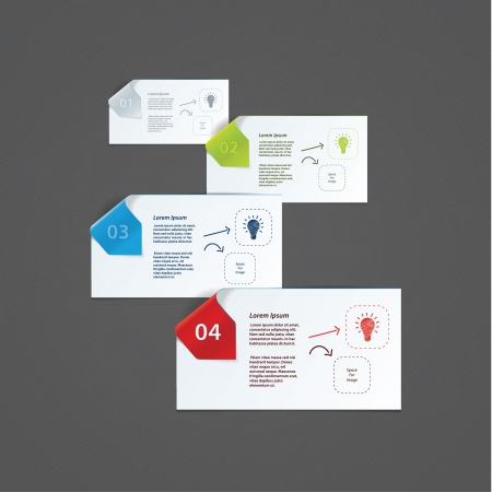 Vector modern design template for presentation.Paper cards with modern design arrows. Much space for your content. Çizim