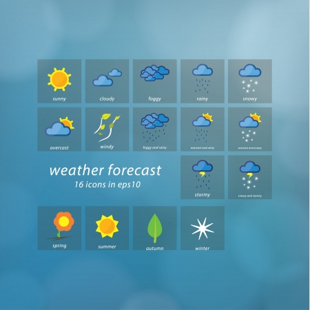 Weather forecast icons. Vector icons - stylized weather events. Thematic symbols on natural vector blurred background. Sizable, editable icons. Çizim
