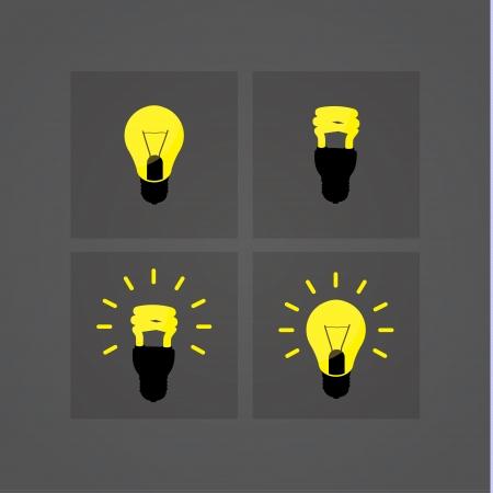 resfriado comun: Vector iconos de la bombilla. Cuatro s�mbolos cl�sicos de la bombilla en el dise�o moderno. Bombillas de luz y oscuridad inteligentes para su sitio web o presentaci�n. Sizable y editable amistoso.