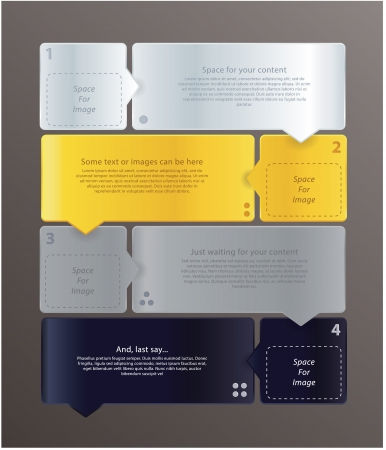 silver white: Modern vector template for tutorial. Four steps. Abstract shapes with little attrow. Space for icons, text and images. Communication, bussines and marketing. Luxury colors - gold, silver, white and black.