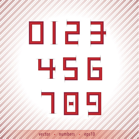 number plate: Abstract numbers in retro style with discreet stripped