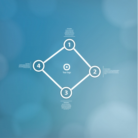 discreto: Vector plantilla minimalista con fondo borroso discreto. Cuatro puntos unidos, mucho espacio para su contenido. Constellation. Dise�o moderno fresco. Vectores