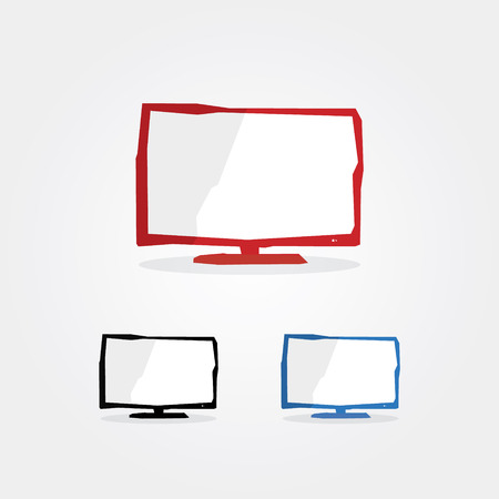 Creative technology pictograms. Fresh technology icons. Three corporate colors. Symbol with sharp edges. Flat screen. Find more icons in my portfolio. Vector