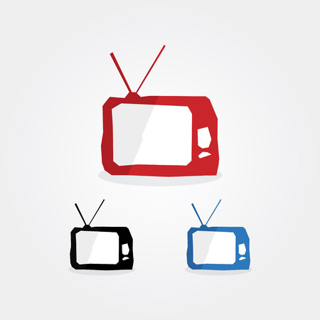 Creative technology pictograms. Fresh technology icons. Three corporate colors. Symbol with sharp edges. Classic television. Find more icons in my portfolio. Vector