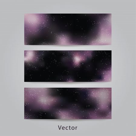 Universe vector banners. Three different banners - space backgrounds for website or presentation. Banners with purple Milky Way. Vector
