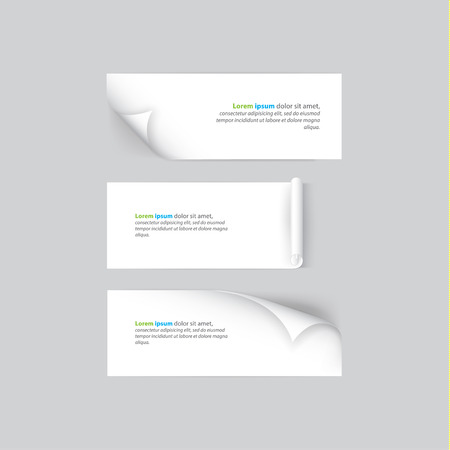 shadowing: Creative vector banners with rolled corners. Clean, white banners with soft realistic shadow. Neutral banners for website or presentation.