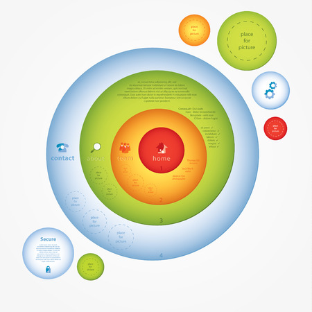 space for images: Colorfully vector presentation. Creative, modern design template with space for icons, images and text. Four layers - circles in different colors. Illustration