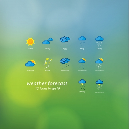 happening: Weather forecast icons. Vector icons - stylized weather events. Thematic symbols on natural vector blurred background. Sizable, editable icons. Illustration
