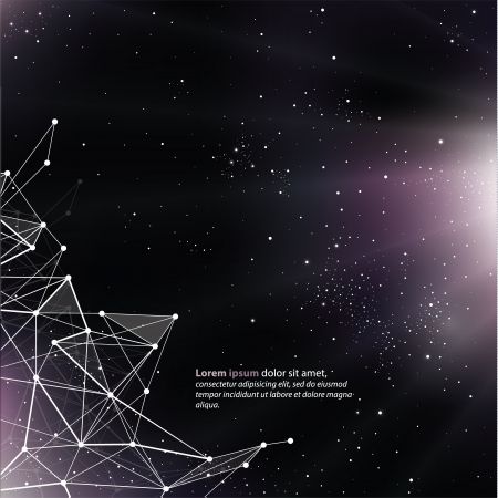 space for text: Deep Space background with abstract lines and triangles. Universe template, with space for your text.