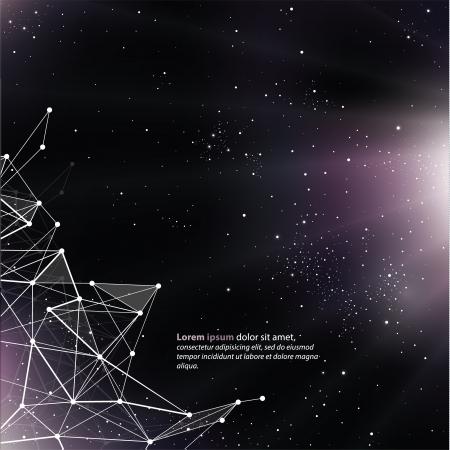 Fondo del espacio profundo con líneas abstractas y triángulos. Plantilla Universo, con espacio para el texto. Vectores