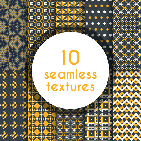 tile able: Pack of decorative patterns. Ten completely editable and tile able patterns for your design.