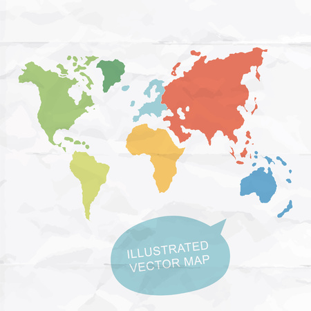 colorfully: Colorfully hand illustrated map of World. Detailed political map.