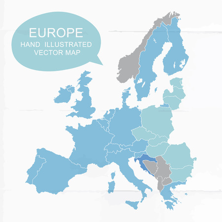 colorfully: Colorfully hand illustrated map of Europe Illustration