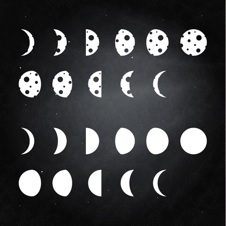 moon phases: Hand illustrated moon phases Illustration