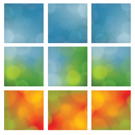 discreto: Discreet vector background. Seasonal theme. Square background for website, product cover or presentation. Neutral backdrop with blurred points. Nine versions - large collection. Vectores