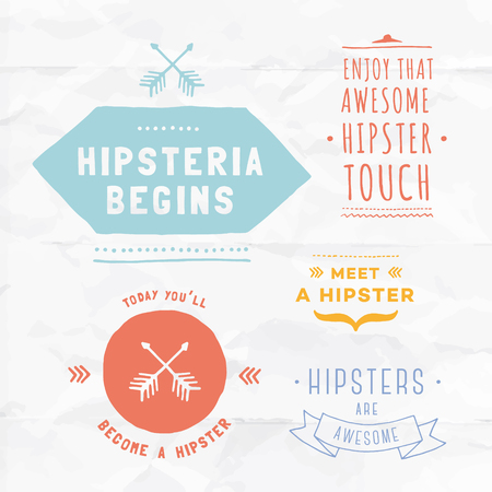 Vector hipster badges. Unique hand illustrated blank badges. Retype your text, adjust graphics and use it in your website or presentation.