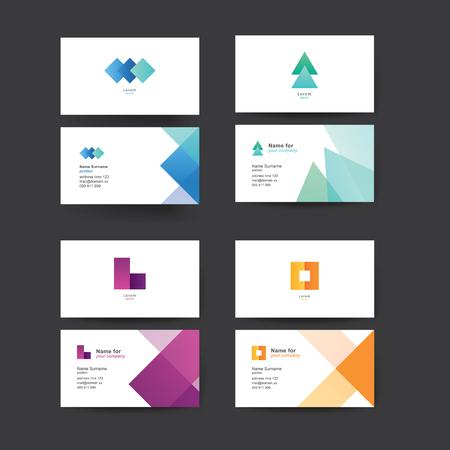 Vector abstracte visitekaartjes. Kleurrijke sjablonen voor visitekaartjes. Bewerkbare vectorafbeelding. Set van vier.