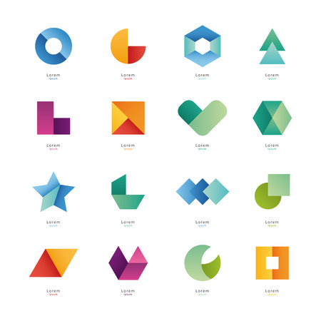 inovation: Colection of abstract blank symbols. Simple geometric shapes.