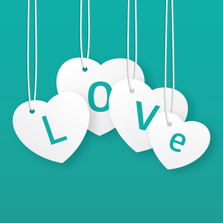 Vector Valentines greeting card. Hanging hearts.