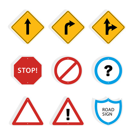 roadsigns: Collection of universal roadsigns. Vector graphic