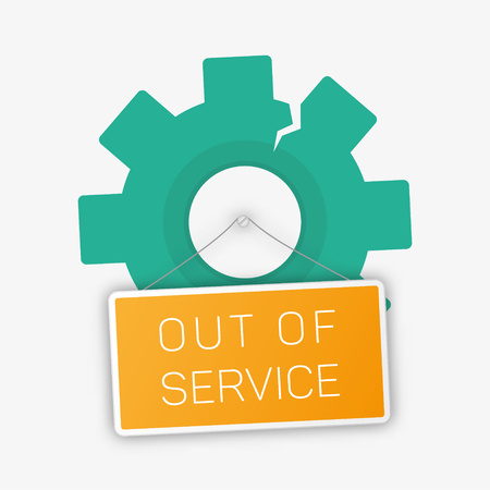 shutdown: Vector out of sevice illustration. Temporarily shutdown. Cummunicative symbol.