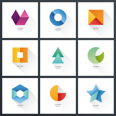 Collection of vector blank shapes. Abstract badges. Vektorové ilustrace