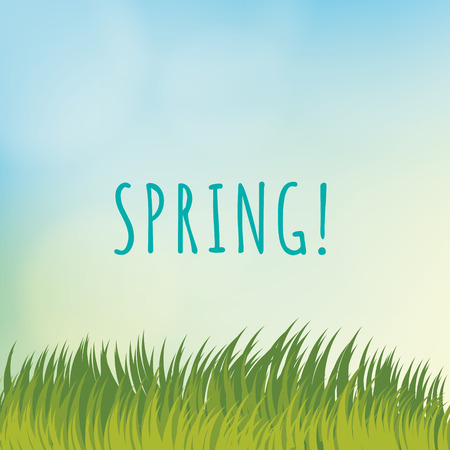 Vector spring template. Light blurred background and sweet grass.