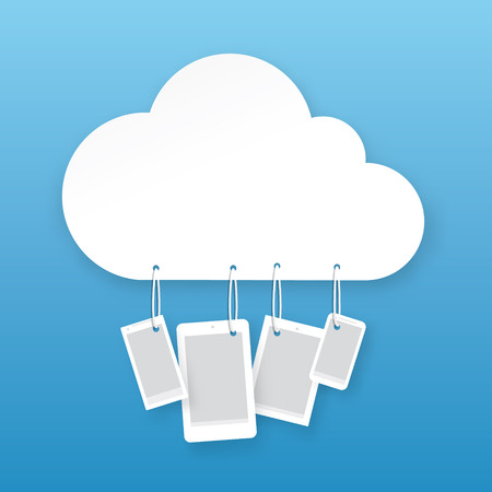 storage compartment: Vector cloud hosting illustration. Little hanging devices with place for your text.