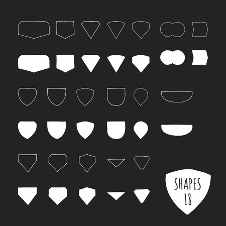 illustrated: Vector hand illustrated shapes. Universal marks and badges for your design.