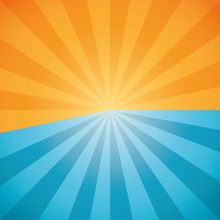 halved: Halved blue orange sun burst background. Centered radial background. Vector illustration.