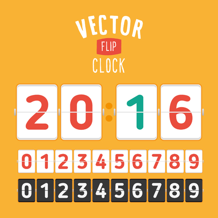 flipping: Flat style flip clock. template with flipping numbers and place for your message.