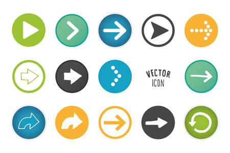 Arrow button set. Simple circle shape button with white minimalistic icons. graphic elements.