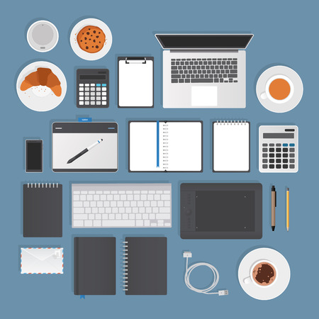 stationery objects. Semi realistic stuff typical for graphic studio or office.